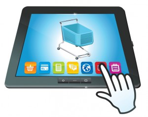 vector tablet pc with shopping cart icon - ecommerce concept