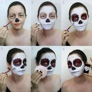 maquillaje de esqueleto para halloween