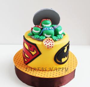 tarta para fiestas de superhéroes con las tortugas ninja