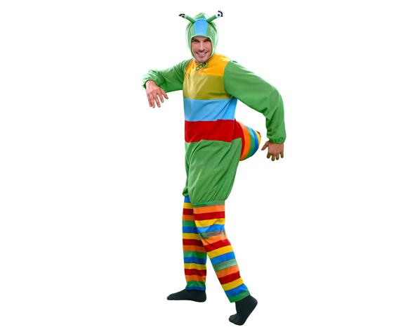 disfraz de gusano multicolor adulto