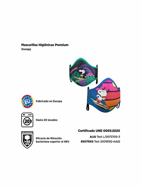 mascarilla de snoopy pack 2 reutilizable