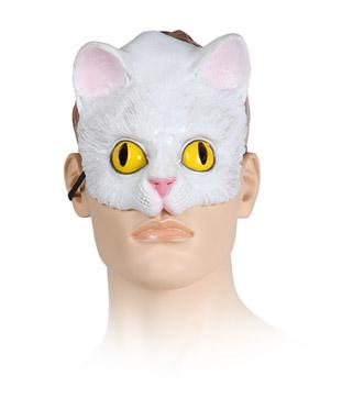 antifaz de gato blanco media cara de plastico