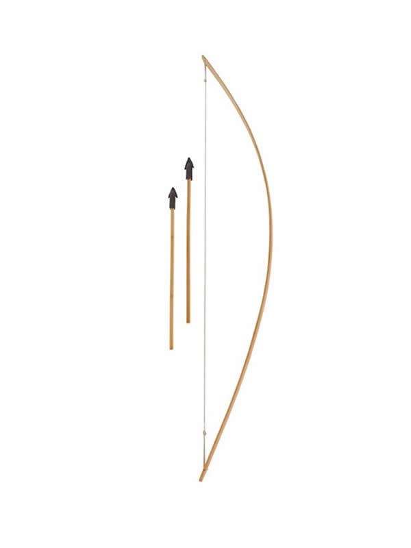 arco de madera largo con flechas