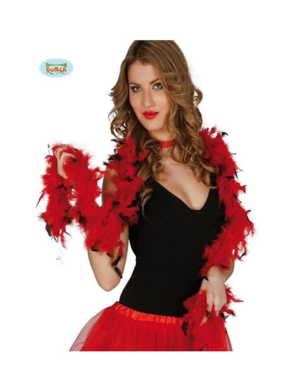 boa de plumas roja y negra 180 cms 40 gramos