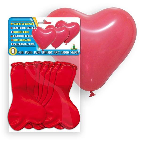 bolsa de 8 globos rojos corazon