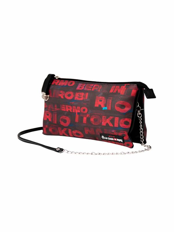 bolso de la casa papel cities rojo y negro