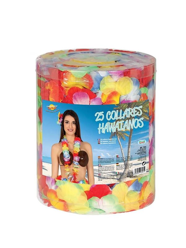 bote de 25 collares hawaianos multicolor