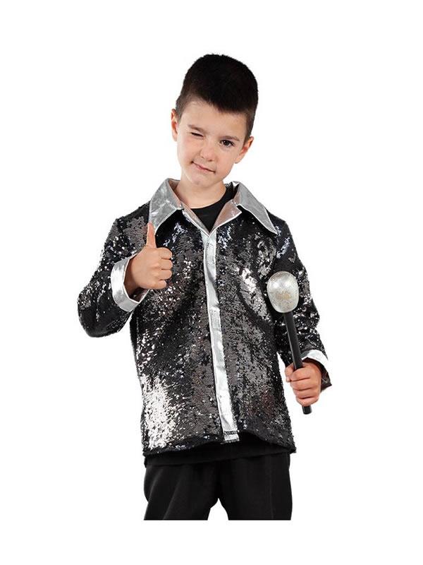 camisa negra disco con lentejuelas infantil