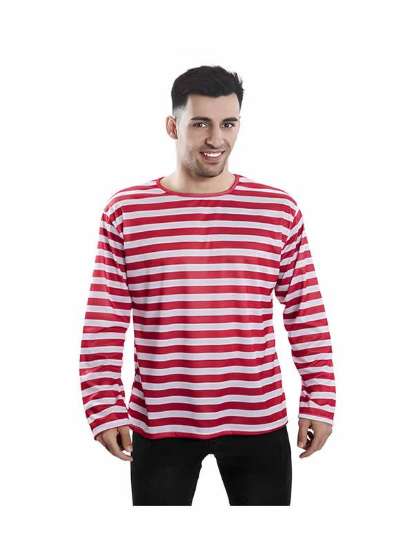 camiseta con rayas rojas y blancas para adultos
