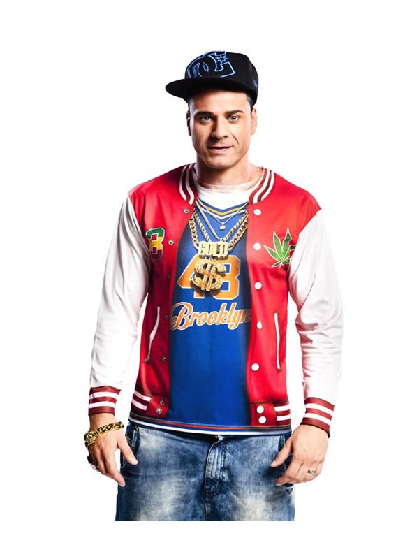 camiseta disfraz de rapero para hombre
