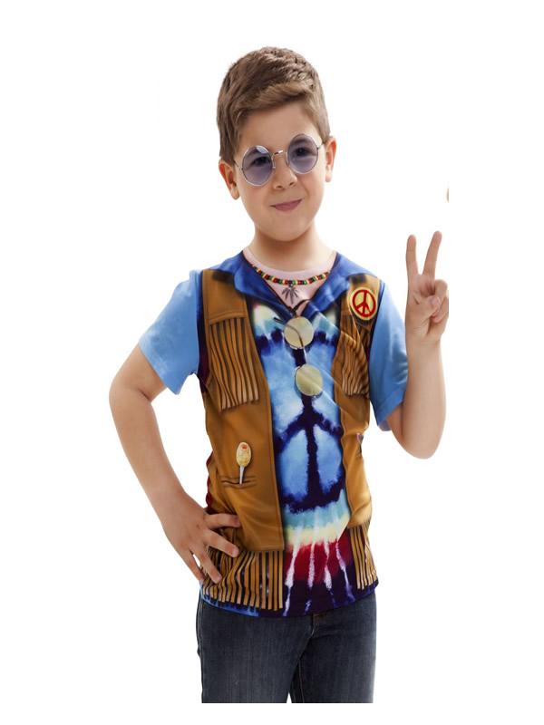 camiseta disfraz hippie para niño