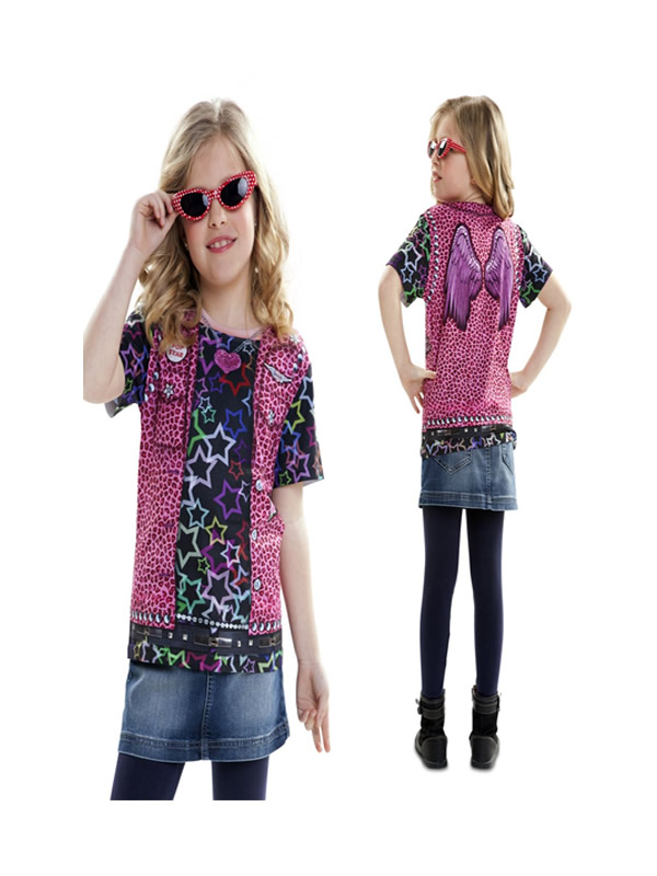 camiseta disfraz rockstar para niña
