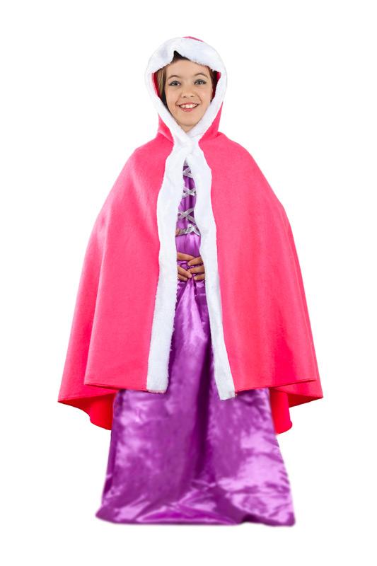 capa de princesa rosa con capucha niña