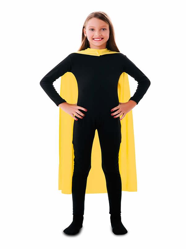 capa superheroe infantil amarilla de 90 cm