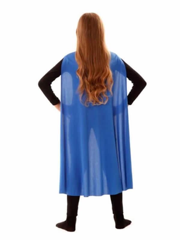 capa superheroe infantil azul de 90 cm