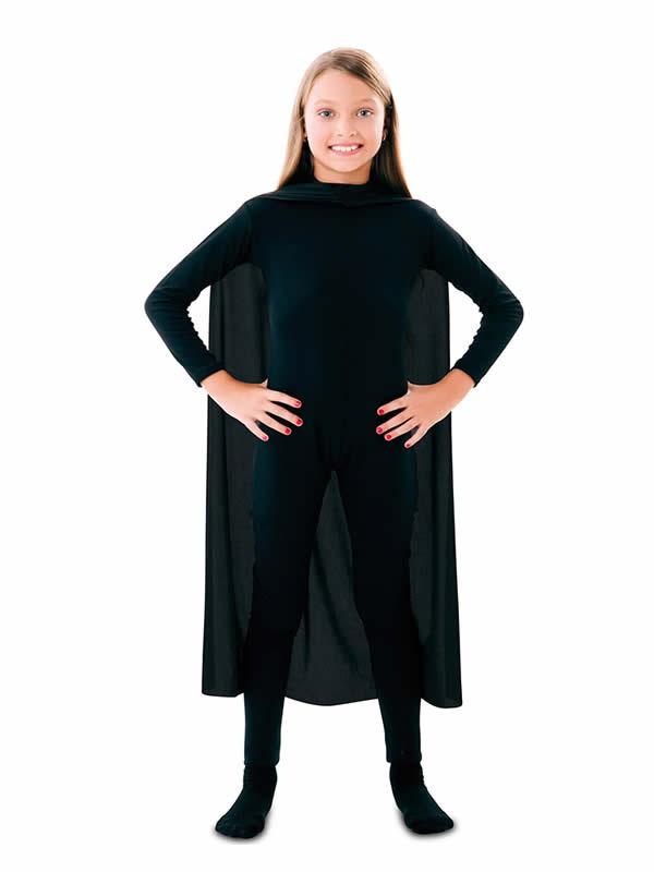 capa superheroe infantil negro de 90 cm