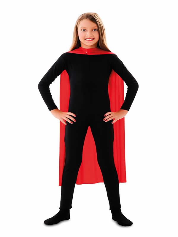 capa superheroe infantil roja de 90 cm