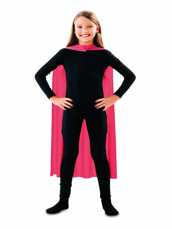 capa superheroe infantil rosa de 90 cm
