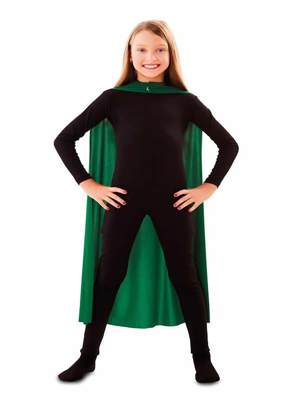 capa superheroe infantil verde de 90 cm