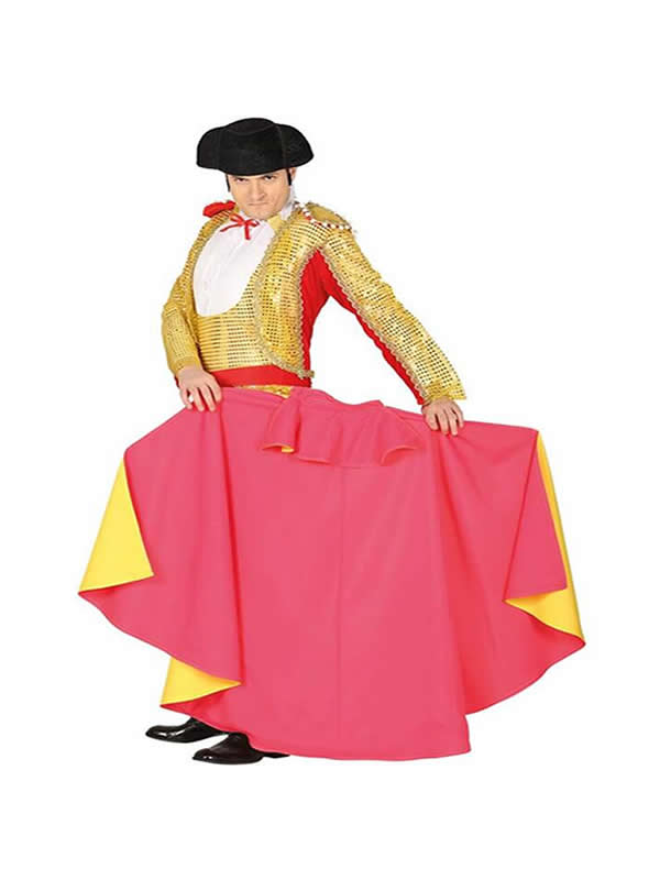 capote de torero rosa y amarillo