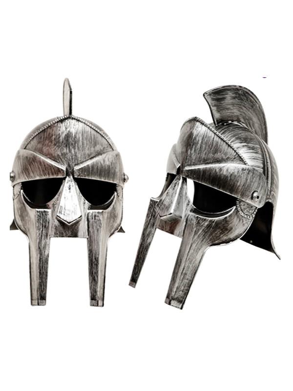 casco de guerrero griego plateado 58 cm
