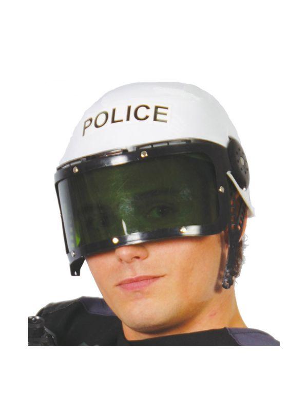 casco de policía con visera adulto