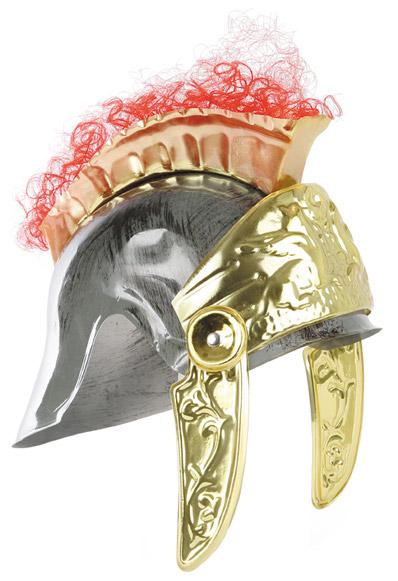 casco de romano plata y oro con pelo cresta flexible