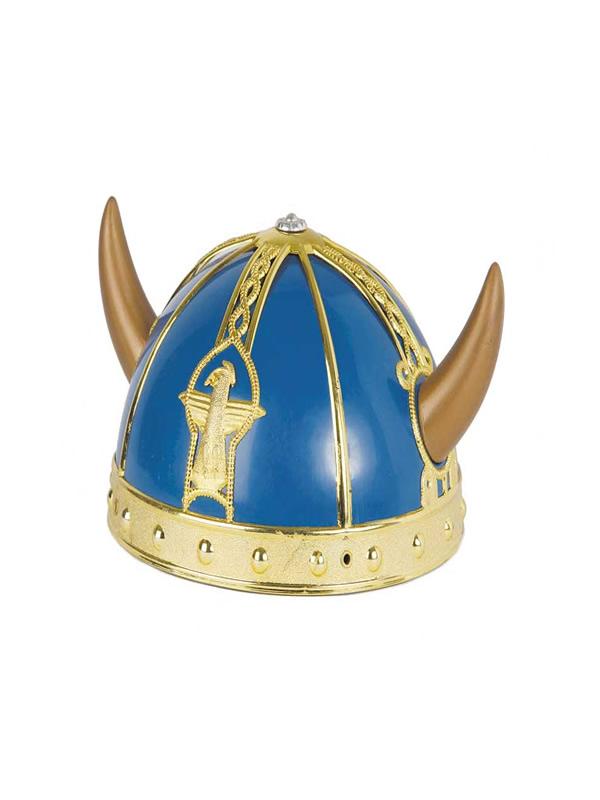casco vikingo azul y dorado pvc