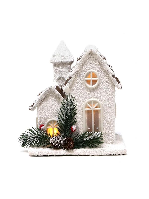 casita madera con led 18 cms navidad