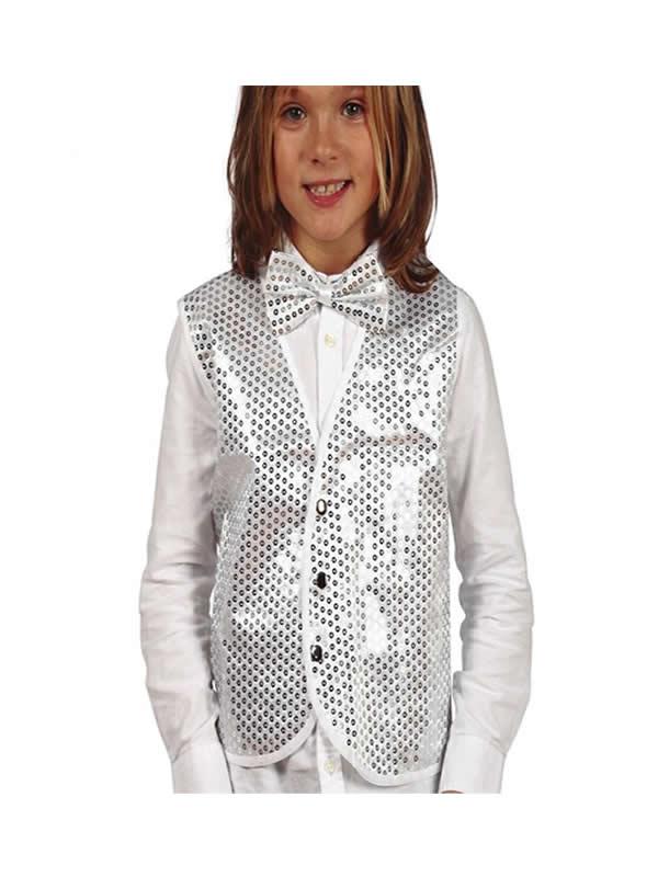 chaleco de lentejuelas plata para niño