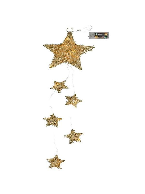 colgante estrellas oro luz leds 20 cms