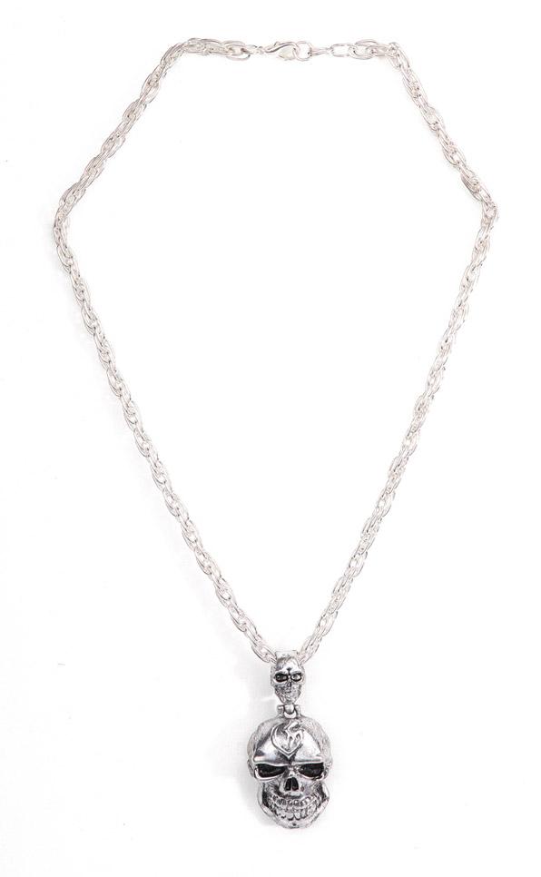 collar con calavera de metal plateado para el cuello