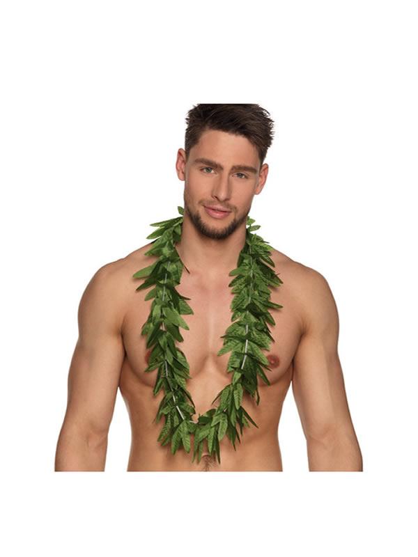 collar hawaiano de hojas verdes