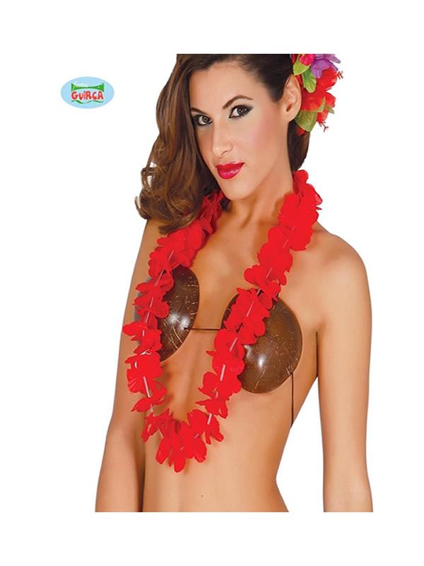 collar hawaiano rojo
