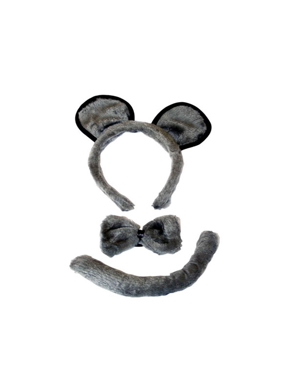 conjunto de raton diadema orejas pajarita y cola