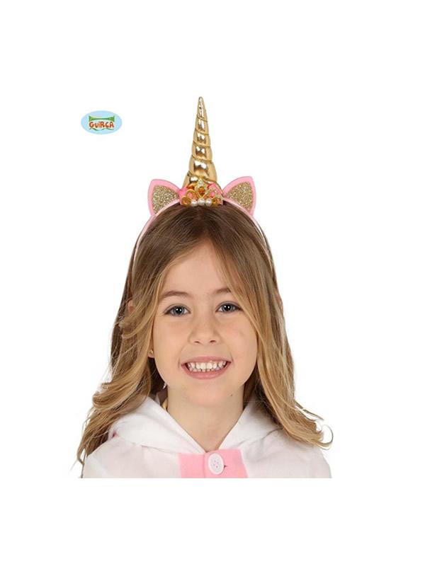 diadema de unicornio oro infantil