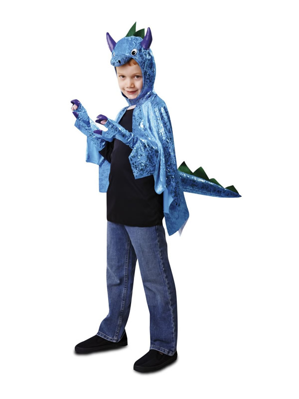 disfraz capa dinosaurio azul para niño