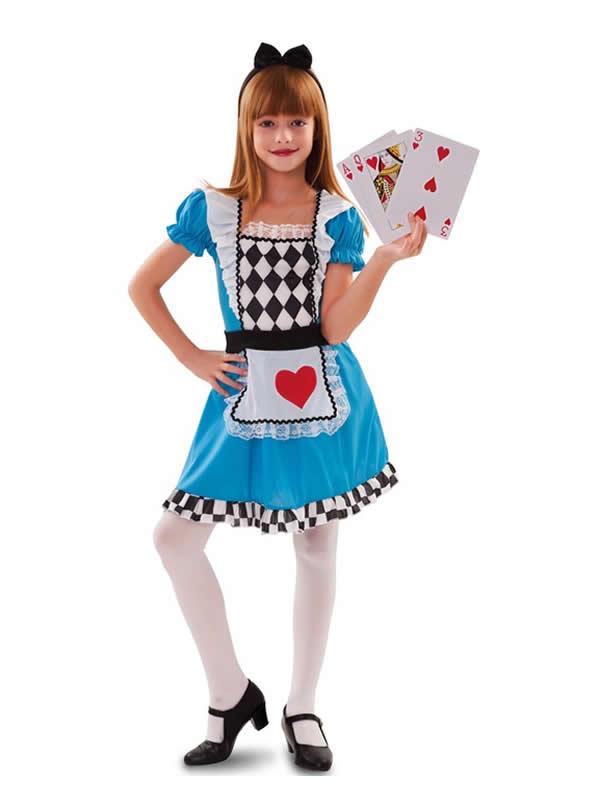 disfraz de alicia con corazones para niña