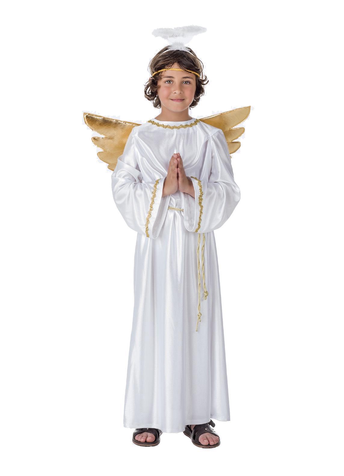 disfraz de angel con alas doradas infantil