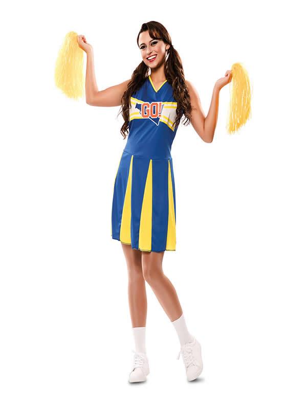 disfraz de animadora azul y amarilla mujer