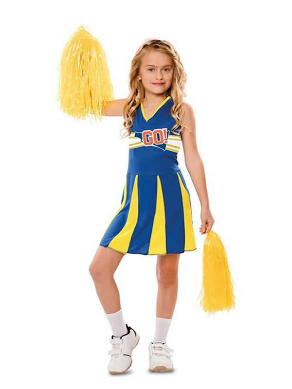 disfraz de animadora azul y amarilla niña