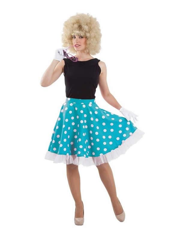 disfraz de anos 50 azul mujer
