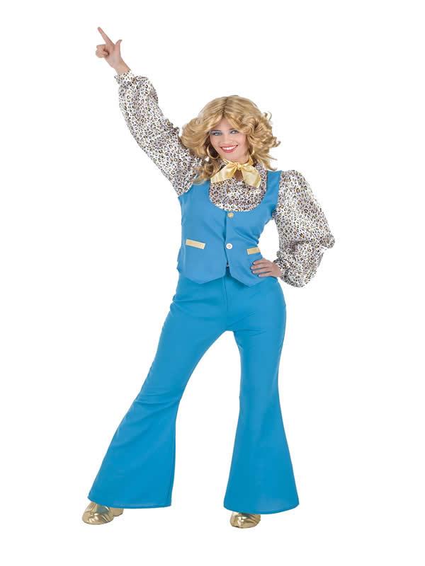 disfraz de años 70 azul para mujer