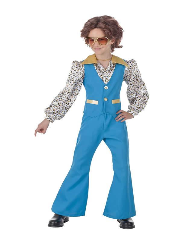 disfraz de años 70 azul para niño