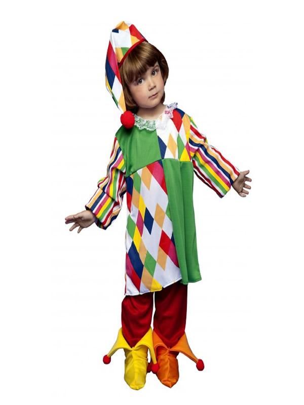 disfraz de arlequina colorido niña