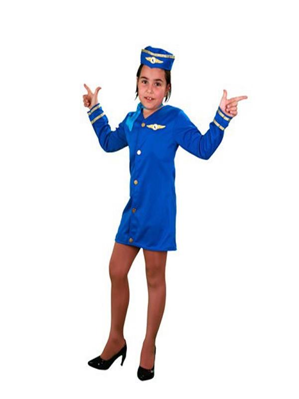 disfraz de azafata azul niña