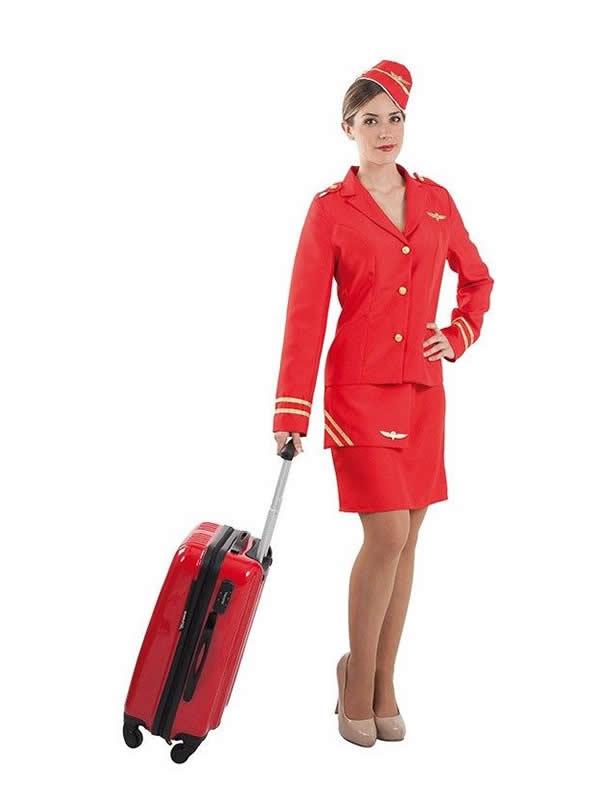 disfraz de azafata rojo de vuelo mujer