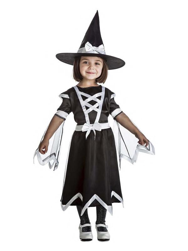 disfraz de bruja blanca y negra niña