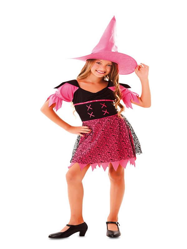 disfraz de bruja fucsia para niña