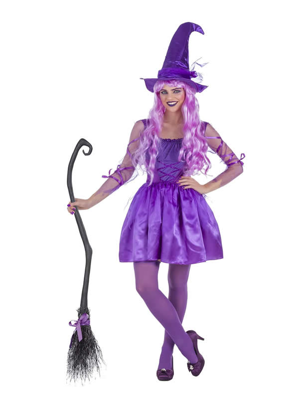 disfraz de bruja lila fantasia mujer